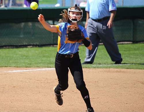Sydney McCaul throwing the ball while competing at the Little League World Series.