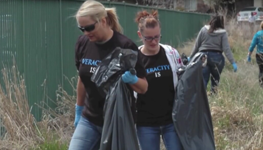 Veracity Employees Cleaning up the Community